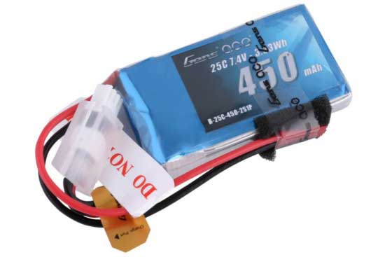 Gens ace 450mAh 7.4V 25C 2S1P Lipoバッテリー JST-SYP plug