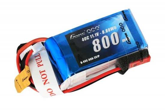 Gens ace 800mAh 11.1V 40C 3S1P Lipoバッテリー JST-SYP plug